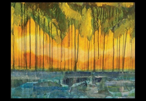 George Oommen - Kerala Sunset Series I - 1997 mixed media 18x24inches