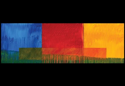 Landscape in Blue Red and Yellow - 2009 - oil on canvas 20x60 inches